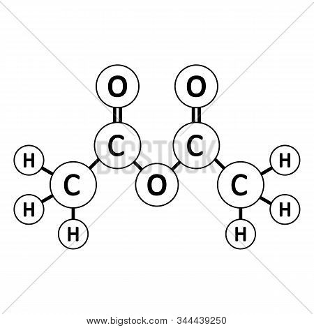 Acetic Anhydride Molecule Icon On White Background. Vector Illustration.