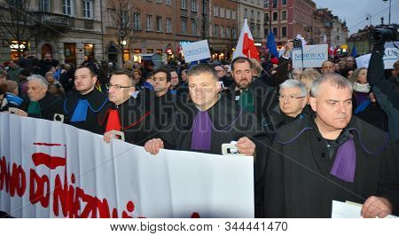 Warsaw, Poland. 11 January 2020. March Of 1000 Gowns. Judges And Lawyers From Across Europe Protest