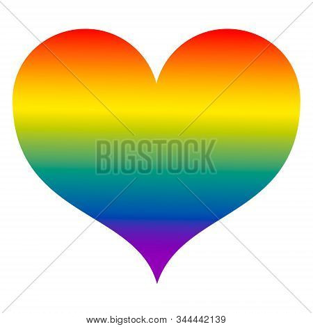 Rainbow Heart Lgbt, A Symbol Of Same-sex Love. Valentine. Suitable For Postcards, Decoration, Gifts.