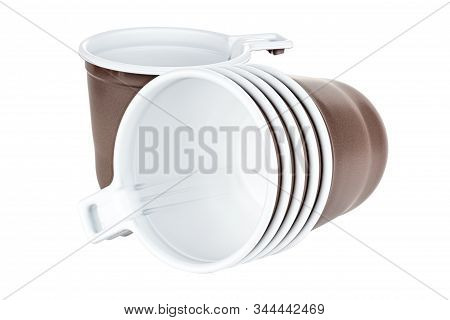 Standing One And Lying Five In Set Unused Disposable White Plastic Mugs With Brown Satin Texture On