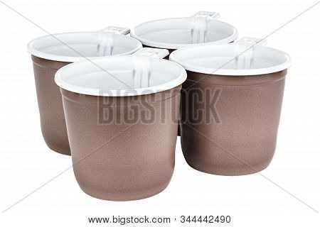 Standing Four Unused Disposable White Plastic Mugs With Brown Satin Texture On The Outside Isolated