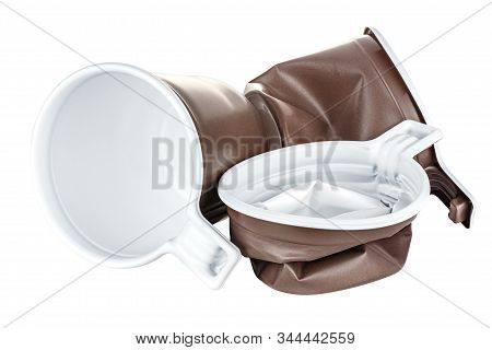 Lying One New And Two Crumpled Unused Disposable White Plastic Mugs With Brown Satin Texture On The