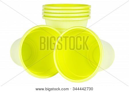 Lying Two And Standing Four In Set Unused Green Disposable Cups Made Of Biodegradable Materials Isol