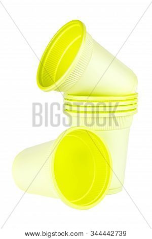 Set Of Unused Green Disposable Cups Made Of Biodegradable Materials Isolated On White Background