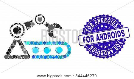 Collage Automatic Conveyor Icon And Rubber Stamp Seal With For Androids Caption. Mosaic Vector Is Co