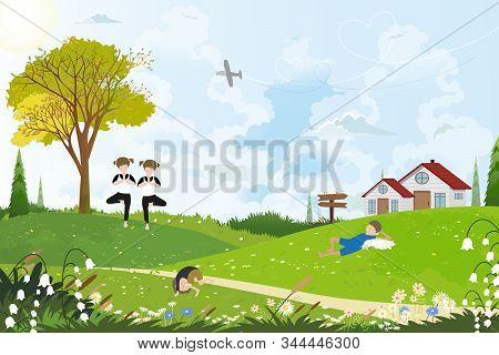 Digital Cg Painting Of Fantasy Village Of Children Lying On Grass In The Park, Landscape Spring Fiel