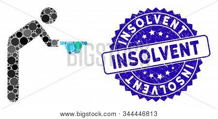 Mosaic Beggar Icon And Corroded Stamp Watermark With Insolvent Text. Mosaic Vector Is Created With B