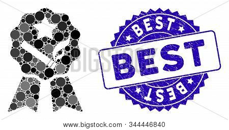 Mosaic Best Tobacco Icon And Rubber Stamp Watermark With Best Caption. Mosaic Vector Is Composed Wit