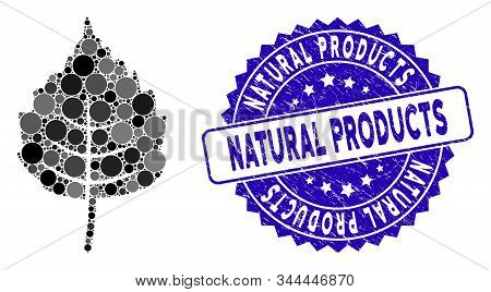 Mosaic Birch Leaf Icon And Grunge Stamp Watermark With Natural Products Text. Mosaic Vector Is Compo
