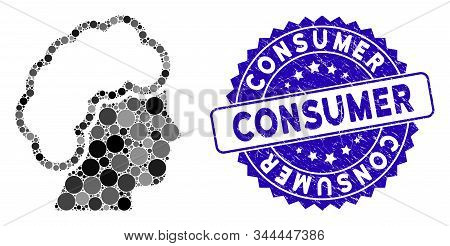 Collage Blonde Profile Icon And Rubber Stamp Watermark With Consumer Phrase. Mosaic Vector Is Formed