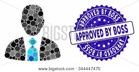 Mosaic Boss Icon And Rubber Stamp Watermark With Approved By Boss Caption. Mosaic Vector Is Created