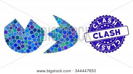 Mosaic Broken Eggshell Icon And Grunge Stamp Watermark With Clash Phrase. Mosaic Vector Is Created W