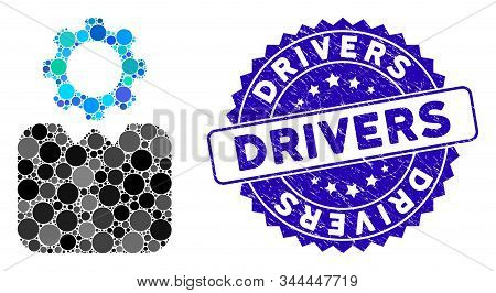 Mosaic Bureaucrat Icon And Rubber Stamp Seal With Drivers Text. Mosaic Vector Is Formed With Bureauc