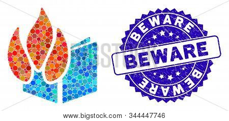 Mosaic Burned File Icon And Rubber Stamp Seal With Beware Text. Mosaic Vector Is Designed With Burne