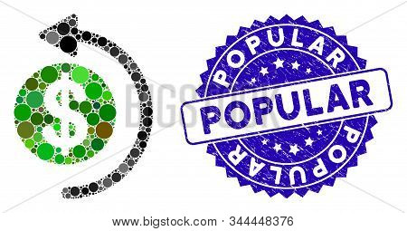 Mosaic Cashback Icon And Grunge Stamp Seal With Popular Text. Mosaic Vector Is Composed With Cashbac