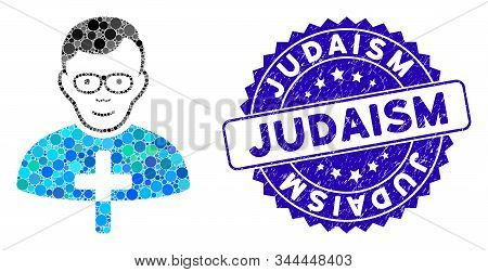 Mosaic Catholic Shepherd Icon And Rubber Stamp Seal With Judaism Phrase. Mosaic Vector Is Created Fr