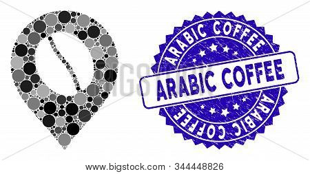 Mosaic Coffee Bean Marker Icon And Rubber Stamp Seal With Arabic Coffee Caption. Mosaic Vector Is De