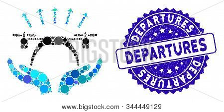 Mosaic Copter Startup Icon And Corroded Stamp Watermark With Departures Text. Mosaic Vector Is Compo