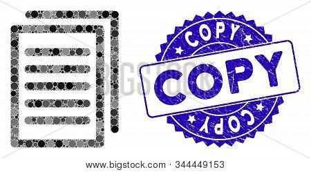 Mosaic Copy Icon And Grunge Stamp Watermark With Copy Caption. Mosaic Vector Is Composed With Copy I