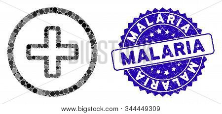 Mosaic Create Icon And Distressed Stamp Watermark With Malaria Caption. Mosaic Vector Is Created Wit