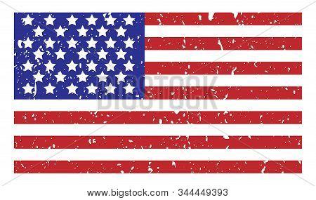 Grange Flag Of Usa On White. Vector Illustration