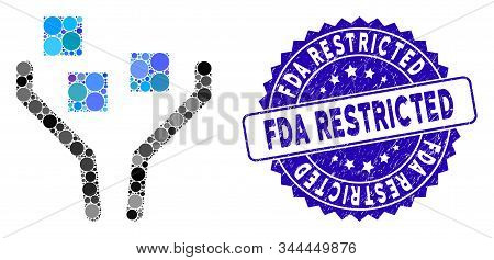 Mosaic Data Filtering Icon And Grunge Stamp Seal With Fda Restricted Text. Mosaic Vector Is Composed