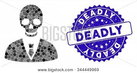 Mosaic Deadly Manager Icon And Distressed Stamp Seal With Deadly Phrase. Mosaic Vector Is Created Wi