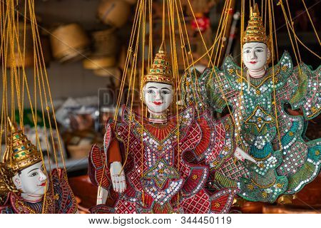 Luang Prabang, Laos - October 10, 2019: Traditional Fabric Decorative Puppets For Sale On The Night