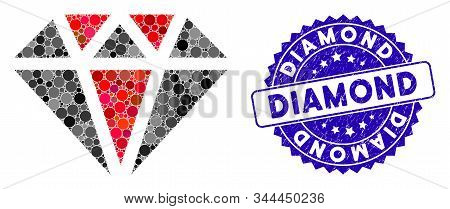 Collage Diamond Icon And Grunge Stamp Seal With Diamond Caption. Mosaic Vector Is Designed With Diam