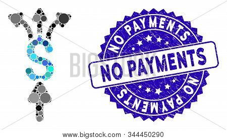Mosaic Divide Payments Icon And Grunge Stamp Seal With No Payments Text. Mosaic Vector Is Composed W