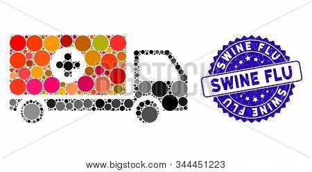 Mosaic Drugs Shipment Icon And Rubber Stamp Seal With Swine Flu Caption. Mosaic Vector Is Created Wi
