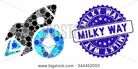 Collage Ethereum Rocket Icon And Rubber Stamp Seal With Milky Way Phrase. Mosaic Vector Is Formed Wi