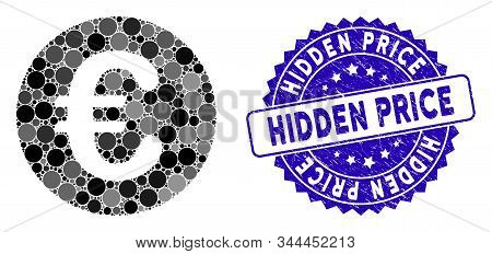 Mosaic Euro Coin Icon And Grunge Stamp Seal With Hidden Price Caption. Mosaic Vector Is Formed With