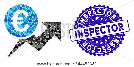 Mosaic Euro Sales Growth Icon And Corroded Stamp Seal With Inspector Phrase. Mosaic Vector Is Design
