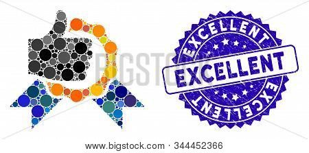 Collage Excellent Icon And Grunge Stamp Seal With Excellent Caption. Mosaic Vector Is Designed With