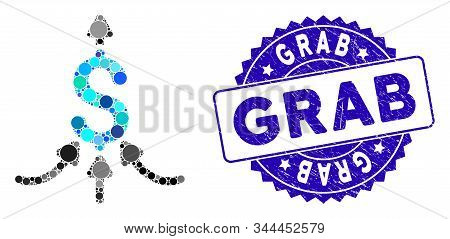Mosaic Financial Aggregator Icon And Rubber Stamp Watermark With Grab Phrase. Mosaic Vector Is Creat