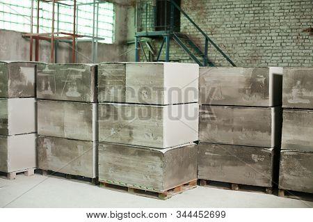 Foam Concrete Blocks Production. Lightweight Construction Brick. Lightweight Foamed Gypsum Block.