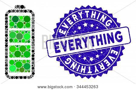 Mosaic Full Battery Icon And Rubber Stamp Seal With Everything Caption. Mosaic Vector Is Designed Wi