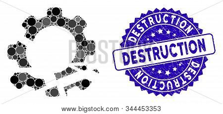 Mosaic Gear Destruction Icon And Grunge Stamp Watermark With Destruction Text. Mosaic Vector Is Comp