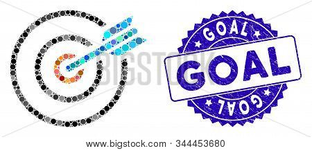Mosaic Goal Arrow Icon And Grunge Stamp Seal With Goal Phrase. Mosaic Vector Is Formed With Goal Arr
