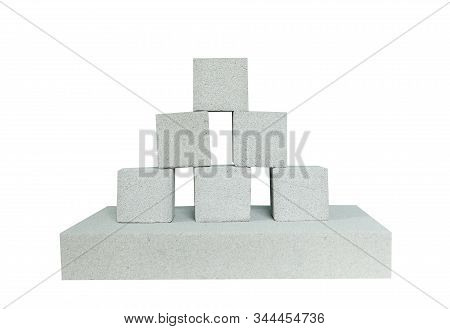 Lightweight Construction Brick Isolated On White. Lightweight Foamed Gypsum Block Isolated On White.
