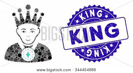 Mosaic King Icon And Distressed Stamp Watermark With King Caption. Mosaic Vector Is Designed With Ki