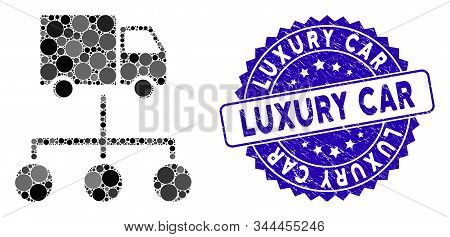 Collage Lorry Distribution Scheme Icon And Distressed Stamp Seal With Luxury Car Caption. Mosaic Vec