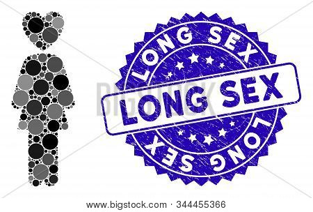 Collage Lover Woman Icon And Rubber Stamp Seal With Long Sex Caption. Mosaic Vector Is Designed With