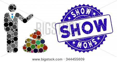 Mosaic Manager Show Shit Icon And Grunge Stamp Watermark With Show Text. Mosaic Vector Is Formed Wit