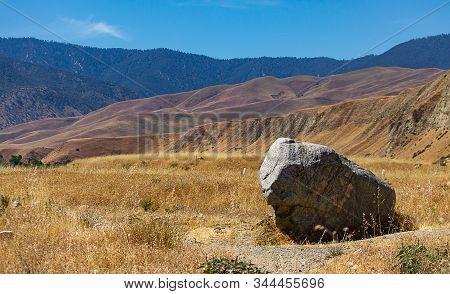 Large Single Boulder In Dry Wild Oats That Spread Across Landscapr