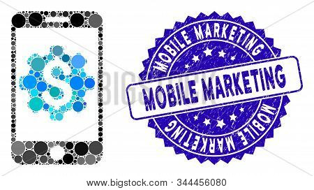 Mosaic Mobile Bank Setup Icon And Rubber Stamp Seal With Mobile Marketing Caption. Mosaic Vector Is