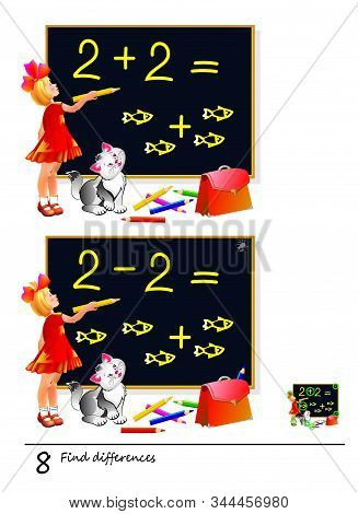 Find 8 Differences. Illustration Of Girl Studying Math. Logic Puzzle Game For Children And Adults. P