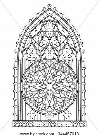 Black And White Fantasy Drawing For Coloring Book. Beautiful Stained Glass Window With Rose. Medieva
