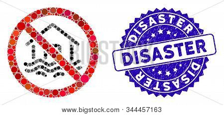 Mosaic No Flood Disaster Icon And Corroded Stamp Watermark With Disaster Phrase. Mosaic Vector Is Co